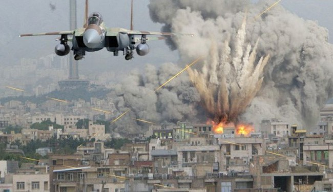 F-15 dropping bombs on a town in Syria