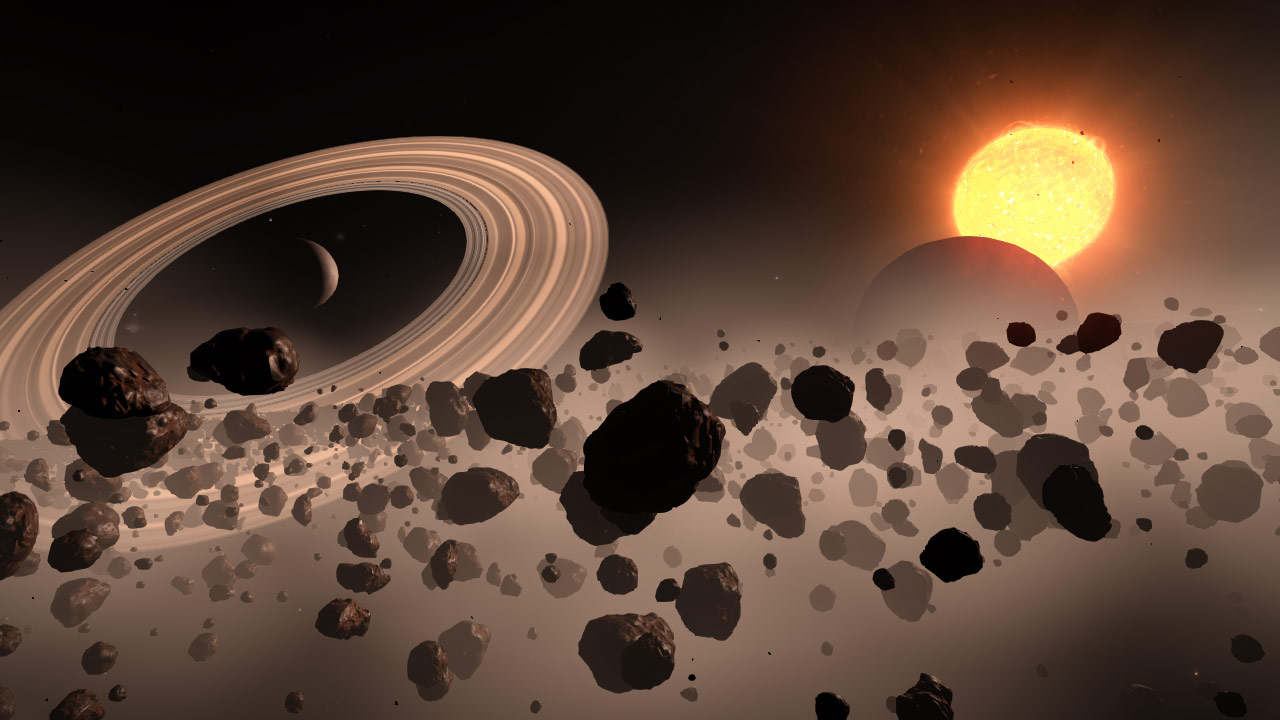 Asteroid mining on the edge of two improbable planetary rings
