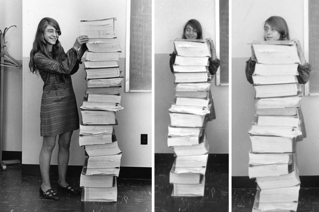 250,000 lines of code stacked up against Margaret Hamilton. Windows runs to 6 million LOC