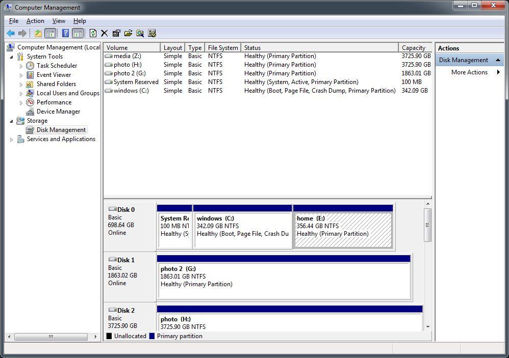my desktop server's partition map