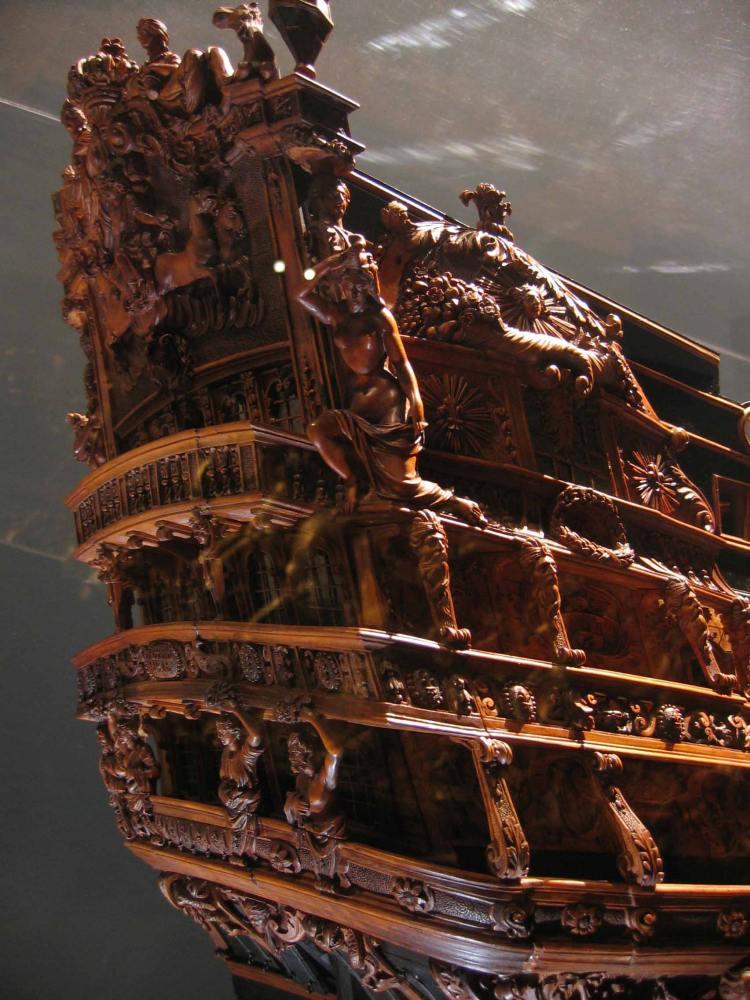 Detail of model of Le Soleil Royale, Musee De La Marine, Paris