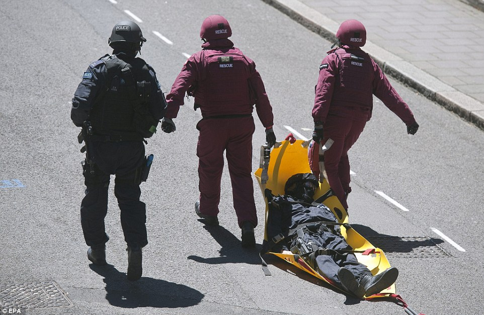 The simulated commander of the simulated disaster is dragged off to his new simulated job in some simulated police force somewhere where they can't fuck things up