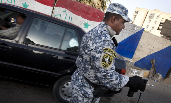 Iraqi Police officer with bomb dowsing rod