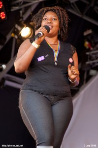 Yemisi Ilesanmi speaking at the London 2010 July Pride