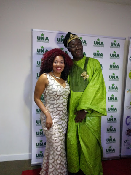 Striking a pose on the red carpet with Ayo Akinfe, coordinator , UNA organising committee.