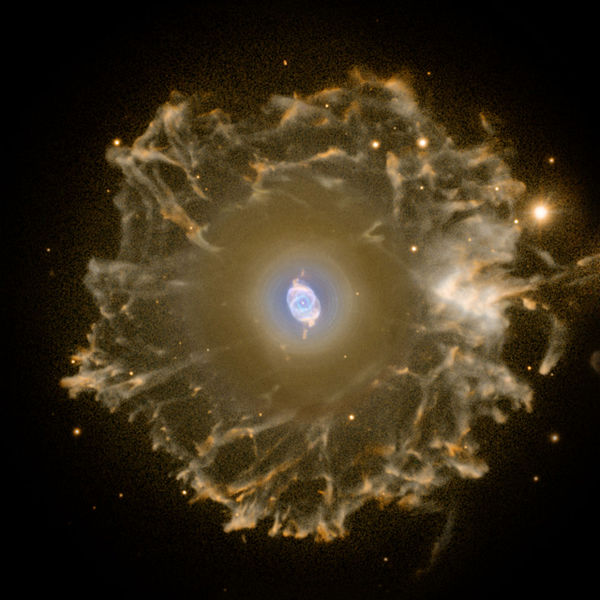 The same Cat's Eye in wide view optical wavelengths showing the golden halo surrounding the multihued jewel at its center.