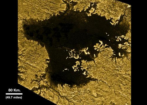Ligeia Mare, shown here in data obtained by NASA's Cassini spacecraft, is the second largest known body of liquid on Saturn's moon Titan. It is filled with liquid hydrocarbons, such as ethane and methane, and is one of the many seas and lakes that bejewel Titan's north polar region.